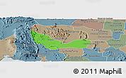 Political Panoramic Map of Chhouk, semi-desaturated