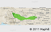 Political Panoramic Map of Chhouk, shaded relief outside