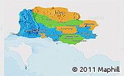 Political Panoramic Map of Kampot, single color outside