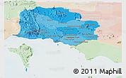 Political Shades Panoramic Map of Kampot, lighten