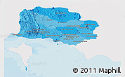 Political Shades Panoramic Map of Kampot, single color outside