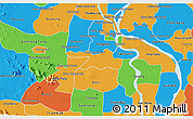 Political 3D Map of Kandal Stung