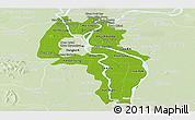 Physical Panoramic Map of Kandal, lighten