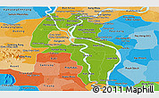 Physical Panoramic Map of Kandal, political shades outside
