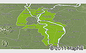 Physical Panoramic Map of Kandal, semi-desaturated