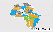 Political Panoramic Map of Kandal, cropped outside