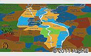 Political Panoramic Map of Kandal, darken
