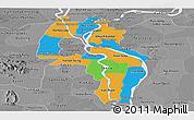 Political Panoramic Map of Kandal, desaturated