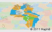 Political Panoramic Map of Kandal, lighten
