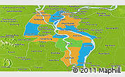 Political Panoramic Map of Kandal, physical outside