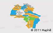 Political Panoramic Map of Kandal, single color outside