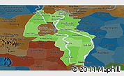 Political Shades Panoramic Map of Kandal, darken