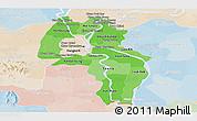 Political Shades Panoramic Map of Kandal, lighten