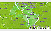 Political Shades Panoramic Map of Kandal, physical outside