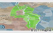 Political Shades Panoramic Map of Kandal, semi-desaturated