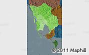 Political Shades Map of Koh Kong, darken