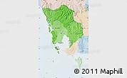 Political Shades Map of Koh Kong, lighten