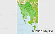 Political Shades Map of Koh Kong, physical outside