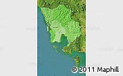 Political Shades Map of Koh Kong, satellite outside