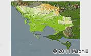 Physical Panoramic Map of Koh Kong, darken