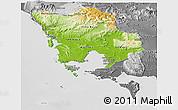 Physical Panoramic Map of Koh Kong, desaturated