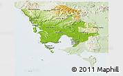 Physical Panoramic Map of Koh Kong, lighten