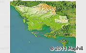 Physical Panoramic Map of Koh Kong, satellite outside
