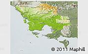 Physical Panoramic Map of Koh Kong, semi-desaturated