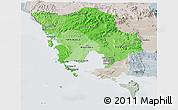 Political Shades Panoramic Map of Koh Kong, lighten, semi-desaturated