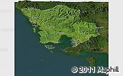 Satellite Panoramic Map of Koh Kong, darken