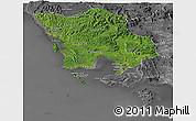 Satellite Panoramic Map of Koh Kong, desaturated