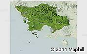 Satellite Panoramic Map of Koh Kong, lighten