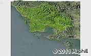 Satellite Panoramic Map of Koh Kong, semi-desaturated