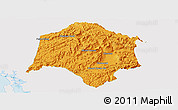 Political Panoramic Map of Thmar Baing, single color outside