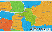 Physical 3D Map of Chlong, political outside
