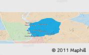 Political Panoramic Map of Kratie, lighten