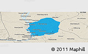 Political Panoramic Map of Kratie, shaded relief outside