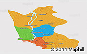 Political Panoramic Map of Kratie, cropped outside