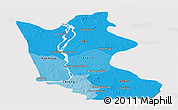 Political Shades Panoramic Map of Kratie, cropped outside