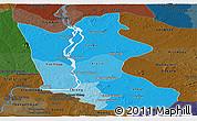Political Shades Panoramic Map of Kratie, darken
