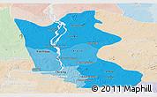 Political Shades Panoramic Map of Kratie, lighten