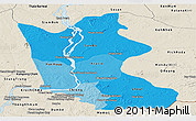 Political Shades Panoramic Map of Kratie, shaded relief outside