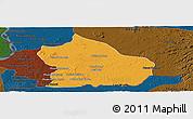 Political Panoramic Map of Snoul, darken