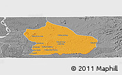 Political Panoramic Map of Snoul, desaturated