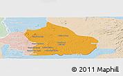 Political Panoramic Map of Snoul, lighten