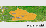 Political Panoramic Map of Snoul, satellite outside
