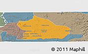 Political Panoramic Map of Snoul, semi-desaturated
