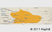 Political Panoramic Map of Snoul, shaded relief outside