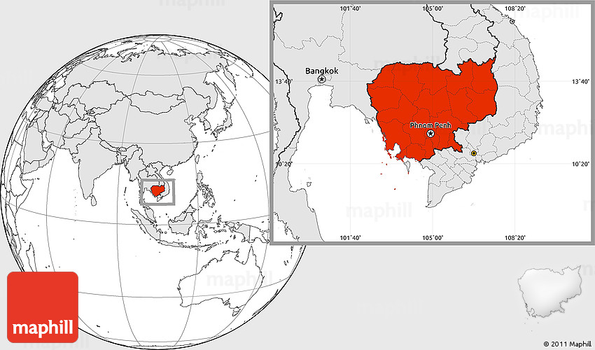 Blank location map of cambodia highlighted continent 2d gumiabroncs Images