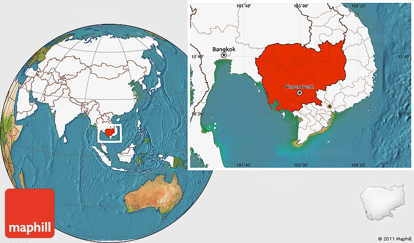 Satellite Location Map Of Cambodia Highlighted Continent - Cambodia map